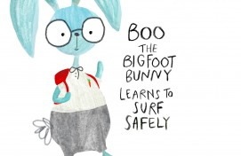Boo the Bigfoot Bunny learns to surf safely